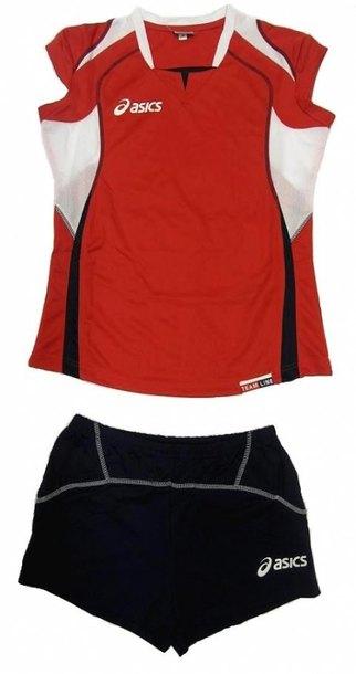 komplet siatkarski Asics Olympic damski czerwony (1)